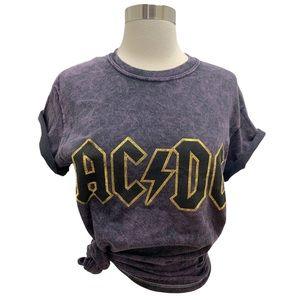 AC/DC NEW Acid Washed Gold Accent Graphic Tee, S